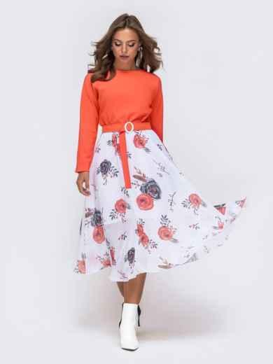 Платье с напуском по талии и принтованной юбкой коралловое - 41385, фото 2 – интернет-магазин Dressa
