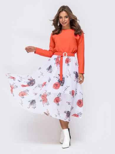 Платье с напуском по талии и принтованной юбкой коралловое - 41385, фото 3 – интернет-магазин Dressa
