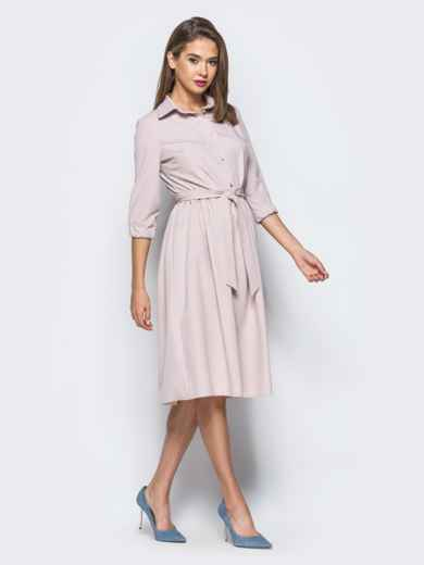 Пудровое платье-миди с жемчужными пуговицами - 16600, фото 3 – интернет-магазин Dressa
