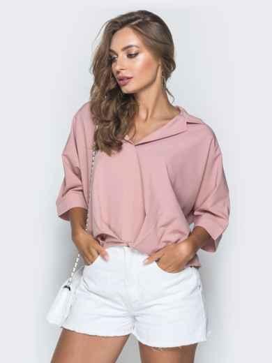 Свободная блузка с удлиненной спинкой пудровая 38481, фото 2