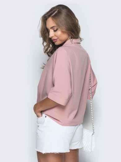 Свободная блузка с удлиненной спинкой пудровая 38481, фото 3