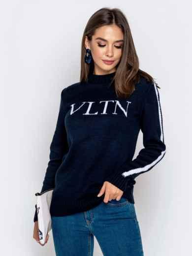 Тёмно-синий свитер с контрастной надписью 41067, фото 1