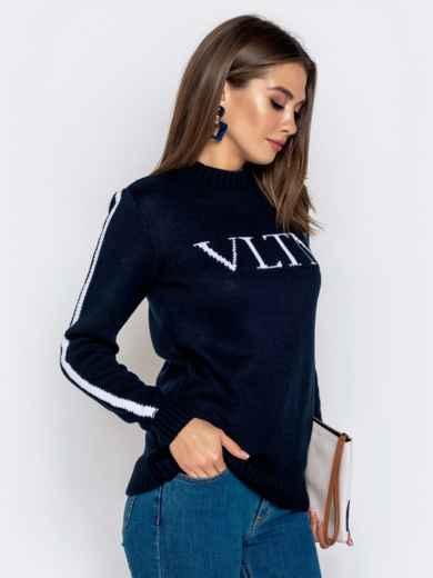 Тёмно-синий свитер с контрастной надписью 41067, фото 2