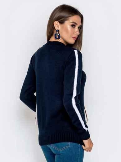 Тёмно-синий свитер с контрастной надписью 41067, фото 3