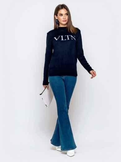 Тёмно-синий свитер с контрастной надписью 41067, фото 4