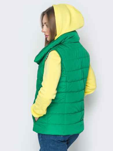 Зелёный жилет с объёмным воротником и карманами - 20056, фото 4 – интернет-магазин Dressa