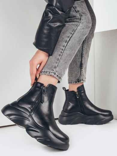 Зимние ботинки в спортивном стиле чёрные 51746, фото 1