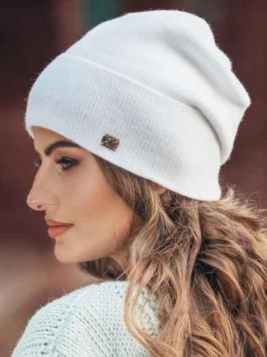 Зимняя шапка без помпона с нитью люрекса белая - 14733, фото 2 – интернет-магазин Dressa
