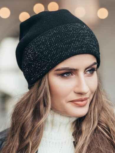 Зимняя шапка без помпона с нитью люрекса черная  14734, фото 1