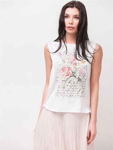 Блузка без рукавов с принтом белая - 22120, фото 1 – интернет-магазин Dressa