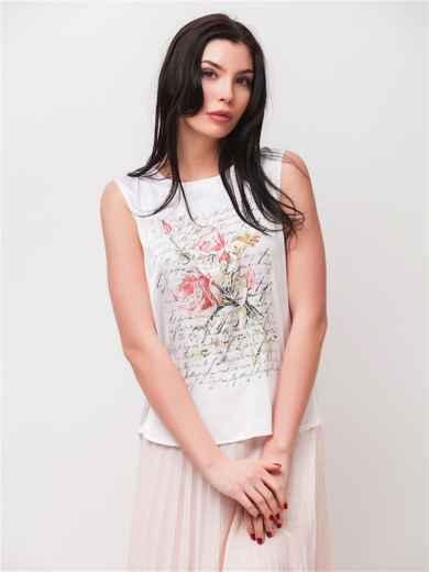 Блузка без рукавов с принтом белая - 22120, фото 2 – интернет-магазин Dressa