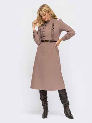 Платье с оборками и юбкой-трапецией бежевое 54872, фото 1