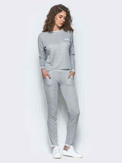 Светло-серый спортивный костюм с контрастными вставками - 11994, фото 1 – интернет-магазин Dressa