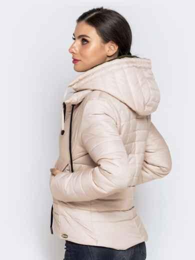 Укороченная куртка с кулиской по талии и капюшоном бежевая 40228, фото 5