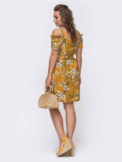 Желтое платье свободного кроя с принтом и открытыми плечами 48584, фото 2