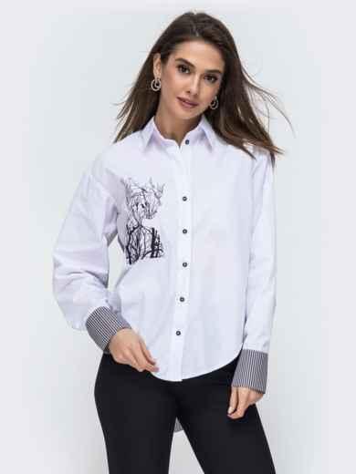 Белая рубашка с вышивкой на полочке 44884, фото 1