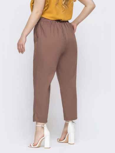 Хлопковые брюки большого размера бежевые 47751, фото 2