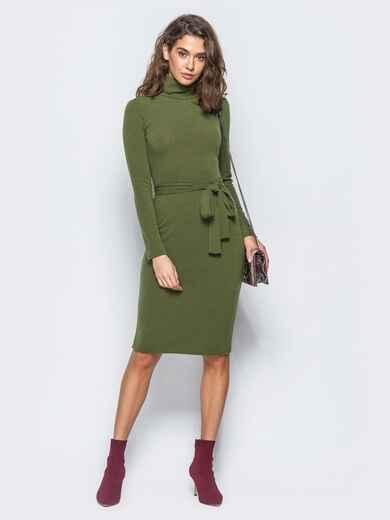 Платье-гольф цвета хаки с поясом в комплекте - 17306, фото 1 – интернет-магазин Dressa