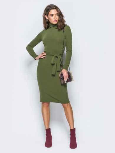 Платье-гольф цвета хаки с поясом в комплекте - 17306, фото 2 – интернет-магазин Dressa