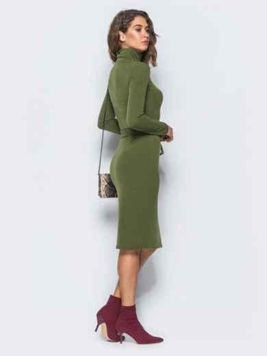 Платье-гольф цвета хаки с поясом в комплекте - 17306, фото 3 – интернет-магазин Dressa
