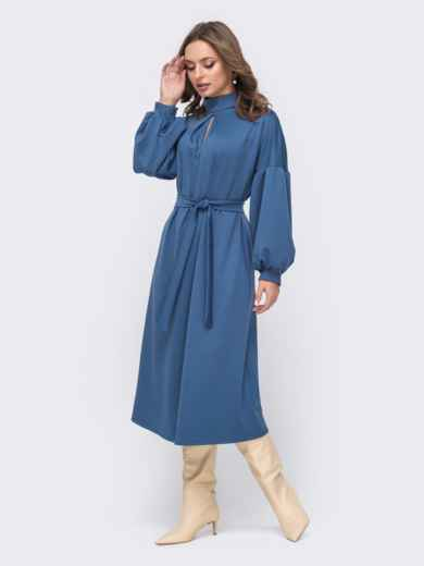 Синее расклешенное платье с объёмными рукавами 51556, фото 2