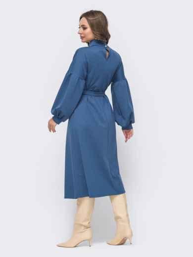 Синее расклешенное платье с объёмными рукавами 51556, фото 3