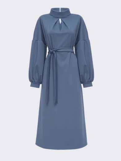 Синее расклешенное платье с объёмными рукавами 51556, фото 4