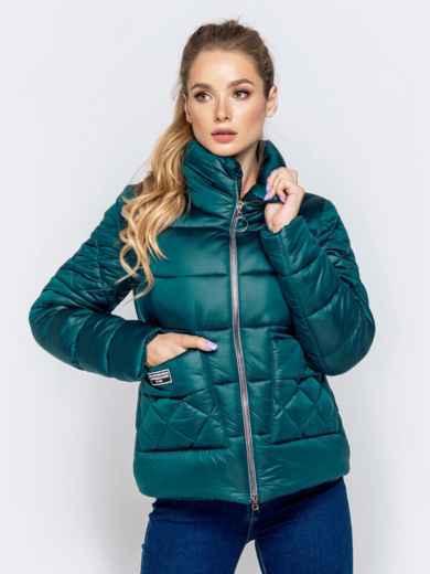Стёганая куртка с накладными карманами зеленая 40728, фото 1