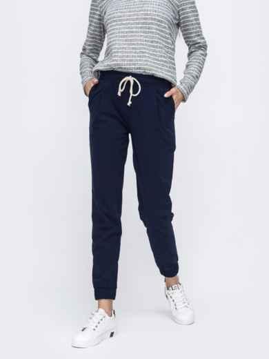 Тёмно-синие брюки-джоггеры со стандартной посадкой - 45621, фото 1 – интернет-магазин Dressa