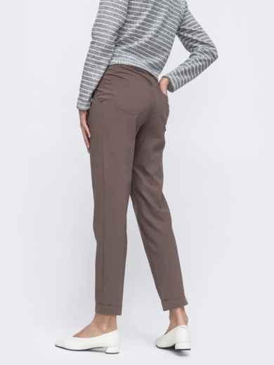Укороченные брюки со стандартной посадкой бежевые 45623, фото 2