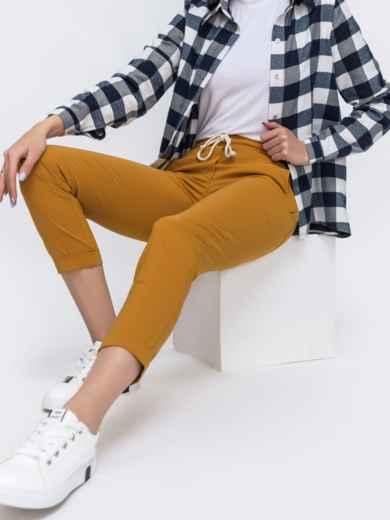 Укороченные брюки со стандартной посадкой коричневые 45624, фото 1