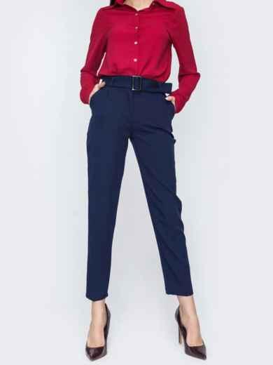 Укороченные брюки тёмно-синего цвета с поясом 45625, фото 1