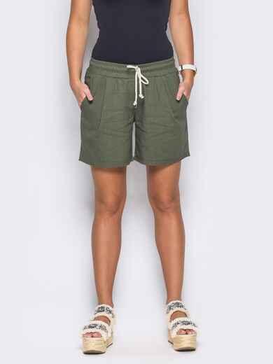 Зеленые шорты на резинке с карманами по бокам - 12114, фото 1 – интернет-магазин Dressa