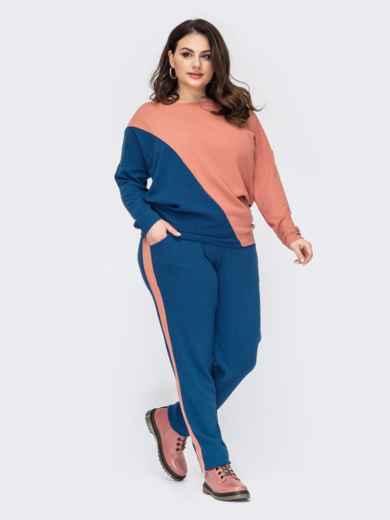 Брючный костюм большого размера с контрастными вставками синий 52767, фото 1