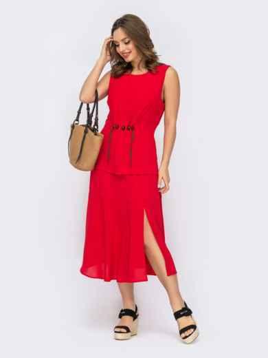Костюм из блузки и юбки с разрезом красный 53696, фото 1
