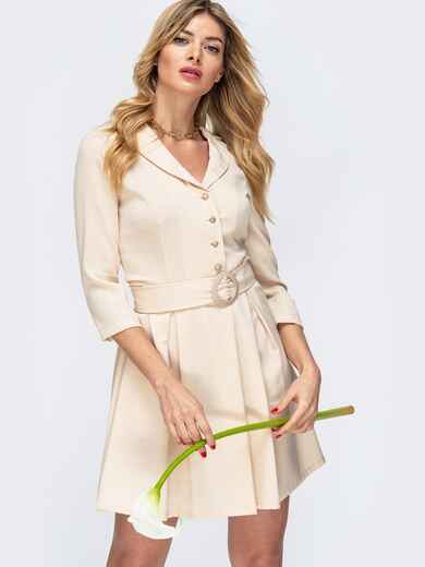 Бежевое платье с пуговицами на полочке 45017, фото 1