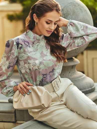 Блузка прямого кроя с принтом и воротником-стойкой розовая 54607, фото 1