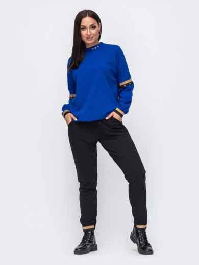 Брючный костюм большого размера с кофтой синий 51471, фото 1