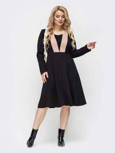 Чёрное платье батал с расклешенной юбкой 50872, фото 1