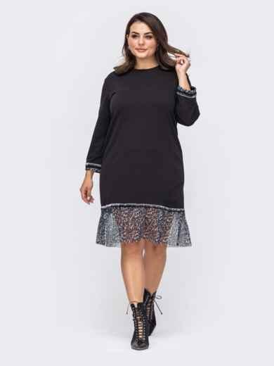 Чёрное платье батал с шифоновым воланом по низу 51472, фото 1