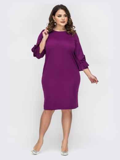 Фиолетовое платье большого размера с рюшами на рукавах - 44541, фото 2 – интернет-магазин Dressa