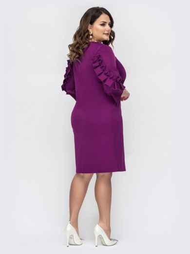 Фиолетовое платье большого размера с рюшами на рукавах - 44541, фото 3 – интернет-магазин Dressa