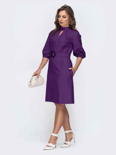 Фиолетовое платье из искусственной кожи с фигурным вырезом 45962, фото 2