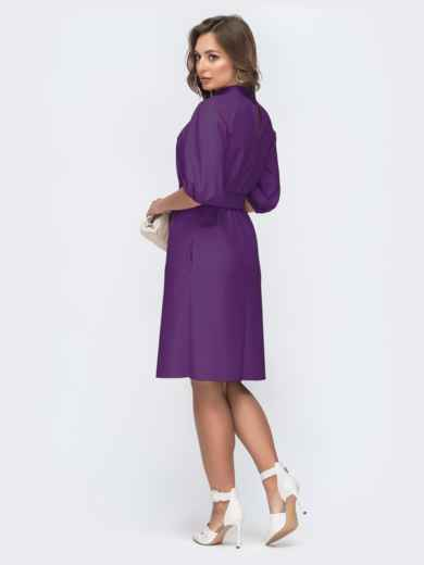 Фиолетовое платье из искусственной кожи с фигурным вырезом 45962, фото 3