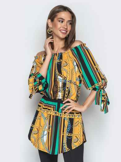 """Горчичная блузка с принтом и воротником """"анжелика"""" - 20545, фото 2 – интернет-магазин Dressa"""