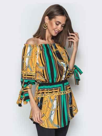 """Горчичная блузка с принтом и воротником """"анжелика"""" - 20545, фото 3 – интернет-магазин Dressa"""