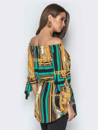"""Горчичная блузка с принтом и воротником """"анжелика"""" - 20545, фото 4 – интернет-магазин Dressa"""