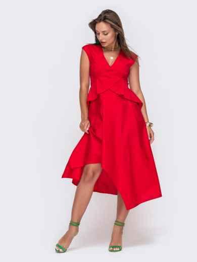 Красное платье-миди с асимметричным низом 49429, фото 2