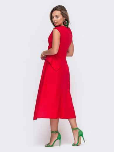 Красное платье-миди с асимметричным низом 49429, фото 3