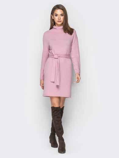 Платье розового цвета со спущенным плечом - 18213, фото 1 – интернет-магазин Dressa